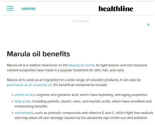 marula oil error on healthline